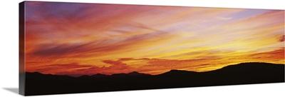 Silhouette of mountains at sunset, Lake Placid, Adirondack Mountains, New York State