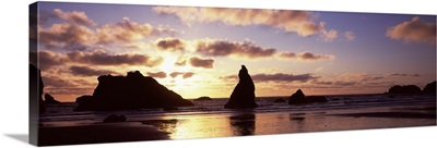 Silhouette of rock formation in the ocean Bandon Beach Bandon Coos County Oregon