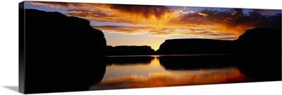 Silhouette of rocks at dusk, Lake Powell, Utah