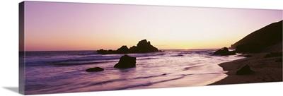 Silhouette of rocks at sunset, Pfeiffer Beach, Big Sur, California