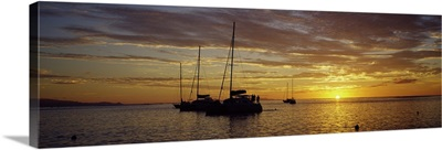 Silhouette of sailboats in the sea at sunset, Tahiti, French Polynesia