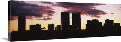 Silhouette of skyscrapers in a city, Century City, City Of Los Angeles, Los Angeles County, California