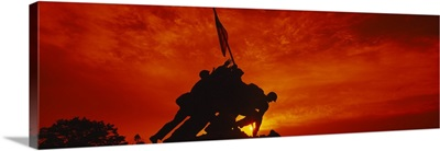 Silhouette of statues at a war memorial, Iwo Jima Memorial, Arlington National Cemetery, Virginia