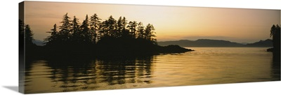 Silhouette of trees in an island, Frederick Sound, Alaska
