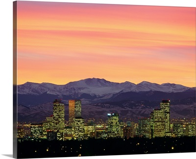 Skyline and mountains at dusk, Denver, Colorado