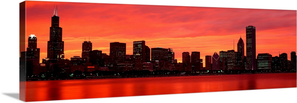 Skyline At Sunset Chicago Il Wall Art Canvas Prints Framed Prints Wall Peels Great Big Canvas