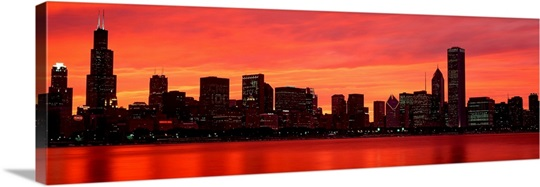 Chicago Skyline Wall Art skyline at sunset chicago il wall art, canvas prints, framed