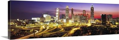 Skyline Evening Dusk Illuminated Atlanta Georgia