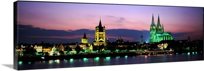 Skyline w/Cologne Cathedral Rhein River Cologne Germany