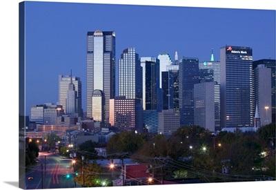 Skyscraper in a city at dawn from the Northeast , Dallas, Texas