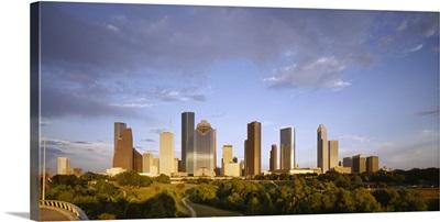 Skyscrapers against cloudy sky, Houston, Texas