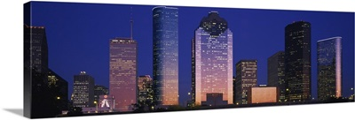 Skyscrapers lit up at night, Houston, Texas