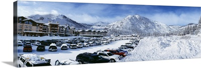 Snow covered cars in a parking lot Squaw Valley Ski Resort Lake Tahoe Olympic Valley Placer County California