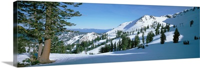 Snow covered hills, Lake Tahoe