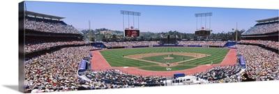 Spectators watching a baseball match, Dodgers vs. Angels, Dodger Stadium, City of Los Angeles, California