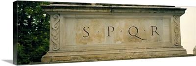 SPQR Text carved on the stone, Piazza Del Campidoglio, Palazzo Senatorio, Rome, Italy