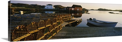 Stack Of Lobster Traps At A Dock, Change Islands, Newfoundland And Labrador, Canada