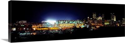 Stadium lit up at night in a city, Heinz Field, Three Rivers Stadium, Pittsburgh, Pennsylvania