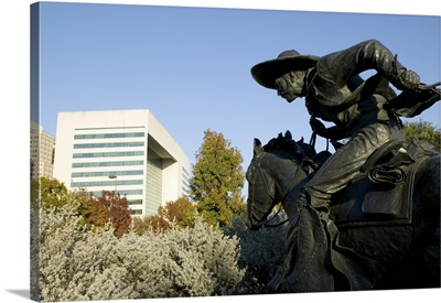 Statue of a cowboy on a horse, Cattle Drive Sculpture, Pioneer Plaza, Dallas, Texas