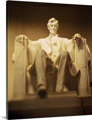 Statue of Abraham Lincoln illuminated at night, Lincoln Memorial, Washington DC