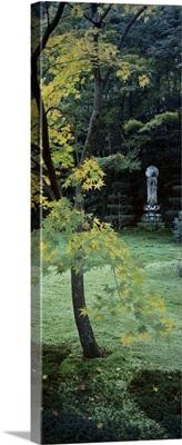 Statue of Buddha in a garden, Sanzenin Temple, Ohara, Kyoto Prefecture, Japan