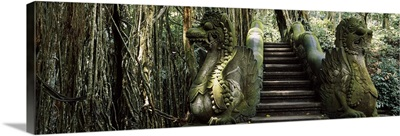 Statue of dragons in a temple, Bathing Temple, Ubud Monkey Forest, Ubud, Bali, Indonesia