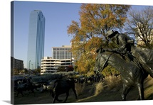 Statues in a park, Cattle Drive Sculpture, Pioneer Plaza, Dallas, Texas