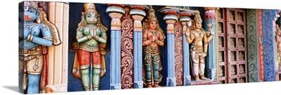 Statues of Hindu Gods carved in a temple, Tiruchirapalli, Tamil Nadu, India