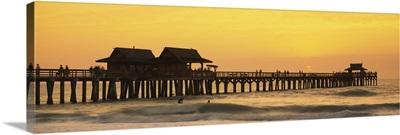 Stilt houses on the pier, Gulf of Mexico, Naples, Florida