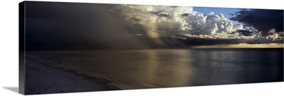 Storm clouds over the sea, Delnor Wiggens Pass Beach, Naples, Florida,