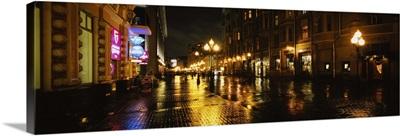 Street lit up at night, Arbat Street, Moscow, Russia