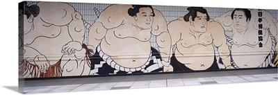 Sumo wrestling mural on a wall, Ryogoku Kokugikan