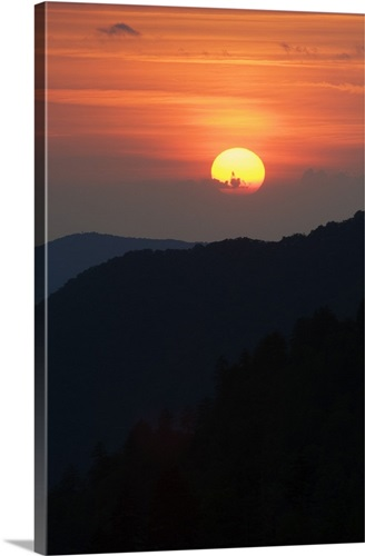 Sun Setting Behind Clouds Silhouetted Mountains Great