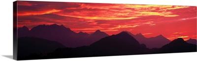 Sundown Austrian Mts South Bavaria Germany