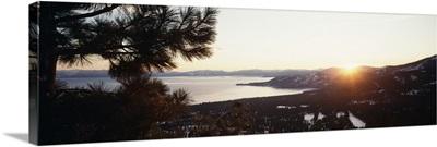 Sunrise over a mountain, Lake Tahoe, Californian Sierra Nevada, California