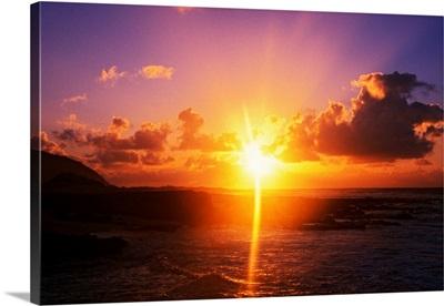 Sunrise over ocean, Sandy Beach Park, Oahu, Hawaii