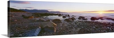 Sunset along rocky coast, Gros Morne National Park, Newfoundland, Canada