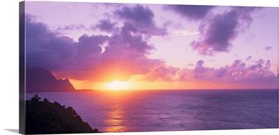 Sunset at Hanalei Bay Kauai HI