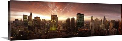 Sunset cityscape Chicago IL