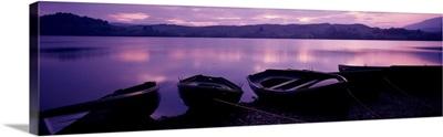 Sunset Fishing Boats Loch Awe Scotland