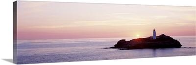 Sunset Godrevy Lighthouse Cornwall England