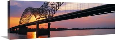 Sunset Hernandez DeSoto Bridge & Mississippi River Memphis TN