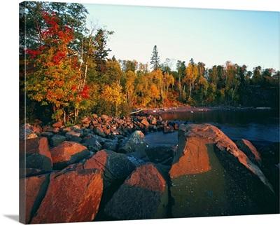 Sunset light on rocky Lake Superior shoreline, Tettegouche State Park, Minnesota