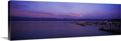 Sunset over a lake, Flathead Lake, Montana
