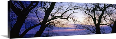 Sunset over a lake, Lake Erie, Sturgeon Point, New York State