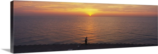 Sunset over a lake, Lake Michigan, Chicago, Cook County, Illinois