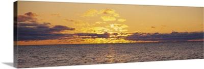 Sunset over a lake, Lake Superior, Keweenaw Peninsula, Michigan