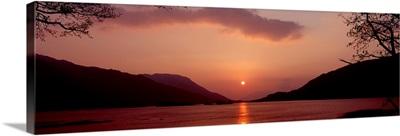 Sunset over a lake Loch Leven Ballachulish Lochaber Highlands Region Scotland