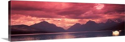 Sunset over a lake, McDonald Lake, US Glacier National Park, Montana