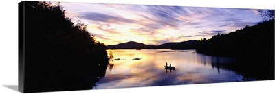 Sunset over a lake, Saranac Lake, Adirondack Mountains, New York State